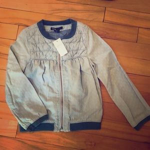 BNWT Girls Gap Denim Light Zip Jacket Size 4